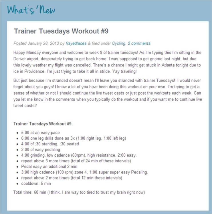 This week's Trainer Tuesday workout.  Click on the picture to go to Laura's website to find all the workouts.