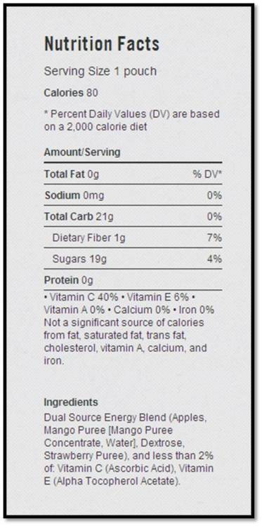 Nutrition facts for PowerBar's Performance Energy Blend, Apple-Mango-Strawberry flavor